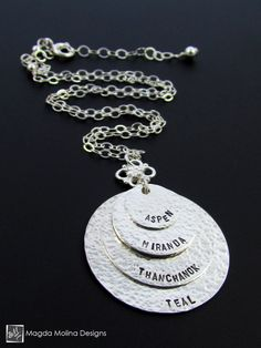 The Personalized Layered Hammered Silver Family (or Friends) Necklace (custom, family, friends, names, gift, mothers day, mother's day, ideas, idea, wedding, bridal, bridesmaids, party favor, meaningful, hand made, hand made)