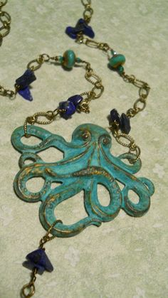 Pieuvre Bleue octopus necklace lapis lazuli green by bohemienneivy, $56.00