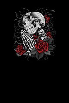 Day of the Dead Praying Skull Screen Printed Short Sleeve T-Shirt - Metalhead Art & Design, LLC Skull Tattoos, Body Art Tattoos, Sleeve Tattoos, Tribal Tattoos, Red Rose Drawing, Sugar Skull Artwork, Sugar Skulls, Queen Tattoo, Skull Wallpaper