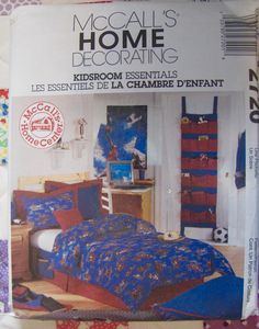 Kids Room Essentials, Sewing Pattern, Duvet Cover, Dust Ruffle, Pillow Shams, Bedside Caddy, Door Organizer, MCalls 2720, Floor Pillows by OnceUponAnHeirloom on Etsy