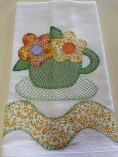 Tea and flowers Applique Templates, Applique Patterns, Applique Designs, Wool Applique, Applique Quilts, Embroidery Applique, Mug Rug Patterns, Quilt Patterns, Sewing Patterns