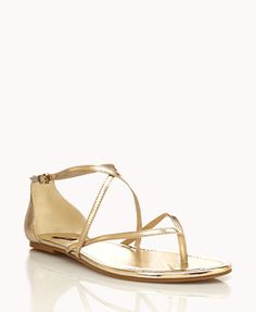 Metallic Strappy Thong Sandals | FOREVER21 - 2046547217  12 for peasants