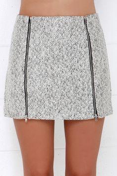 Uptown Upgrade Black and Ivory Mini Skirt at Lulus.com!