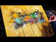 Abstract Painting Demo Acrylics using brush, knife, water - Inula - John Beckley - YouTube