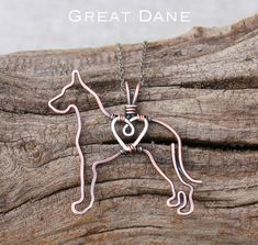 """Copper Great Dane Pendant with Sterling Silver Heart"
