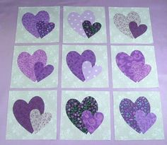9 Purple Double Heart Quilt  Blocks by MarsyesQuiltShop on Etsy, $12.95