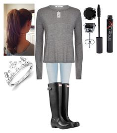 Rainy Day Outfit #1 by thisisvintage on Polyvore featuring polyvore, moda, style, T By Alexander Wang, River Island, Hunter, Kevin Jewelers, BERRICLE, Sho, Smashbox, fashion and clothing