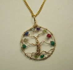 Genuine Faceted Gemstones - Gold Birthstone Family Tree Necklace Pendant