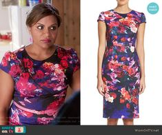 Mindy's floral capped sleeve dress on The Mindy Project.  Outfit Details: https://wornontv.net/61011/ #TheMindyProject