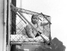 "1923 babies were placed in the ""Cage Pen"". This pen was common place in the high lofts and skyscrapers of New York City. Moms doing work, chores or sleeping had peace of mind that their little ones were safe and enjoying the sunshine. ☀️☀️☀️☀️☀️"
