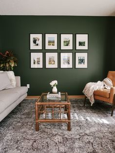Tips for Decorating a Living Room with Dark, Bold Paint Color - kitty cotten Dark Green Living Room, Dark Living Rooms, Paint Colors For Living Room, Living Room Interior, Home Living Room, Living Room Designs, Living Room Vintage, Small Living, Livingroom Paint Ideas