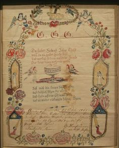 """Hand-rendered in watercolor and colored ink on paper With an embossed mark in the paper on the upper right. (Note: Many Frakturs during the 19th century were commercial printings with """"fill in the blanks."""" Th..."""