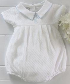 efd85a08ab87 Baby Boys White Christening Bubble with Blue Cross