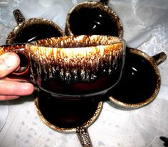 Awesome USA Vintage Brown Drip  soup bowls set of by ChinaGalore, $25.00