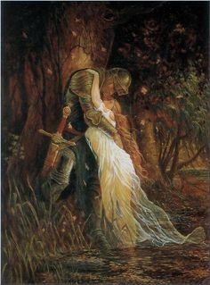 """""""La Belle Dame Sans Merci"""" Marc Fishman (What was with these guys and their vampire ladies? John William Waterhouse, Art Amour, Art Ancien, Knight In Shining Armor, Pre Raphaelite, Classical Art, Beautiful Paintings, Romantic Paintings, Oeuvre D'art"""