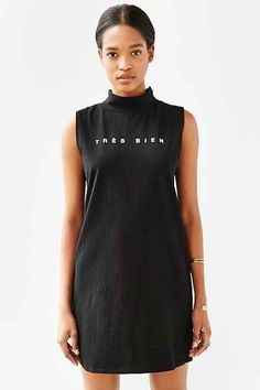 Truly Madly Deeply Tres Bien Mock-Neck Dress - Urban Outfitters
