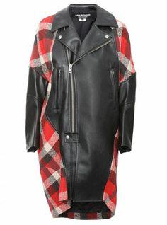 JUNYA WATANABE Contrast Wool Biker Collar Coat Red - Lyst