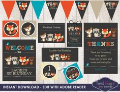 **IMPORTANT INFORMATION...PLEASE READ**  It is a EASY as CLICK, EDIT, PRINT AND TRIM!!  INSTANT DOWNLOAD Orange Fox Party Printable  * Files