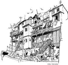 Lukas… Lukas… dónde te has metido Ink Pen Drawings, Drawing Sketches, Painting Corner, Building Sketch, Building Design, Perspective Drawing, Urban Sketchers, Environmental Art, Gravure