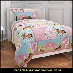 Every little girl loves ponies. The Pony bedding set is perfect for darling little girls who have always wanted a pony of their own. Reversible Comforter features images of horses on one side and cute pink & white polka dots on the reverse side.