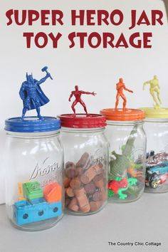 Store all of those little toys in these super hero jars with this tutorial.