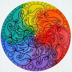 Color Wheel Turntable Art  Mandala Painting on Vinyl by EyePopArt