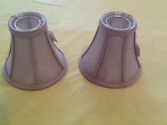 """2 Silk Oatmeal fabric Lampshades, 3"""" top, 6"""" Bottem & 5"""" tall, lined"""