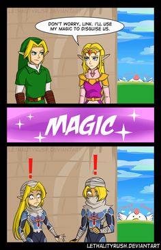 Dubious Disguises by Lethalityrush.deviantart.com on @DeviantArt --- In Ocarina of Time, when princess Zelda turns into Sheik she looks much more masculine. How about Link's possible Sheikah form making him look more feminine?