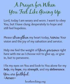 Prayer for Not Giving Up