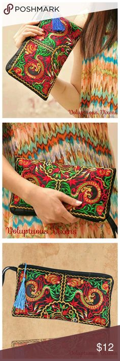 "Authentic Chinese Dragon Embroidered Clutch Ethnic authentic Chinese embroidered clutch with Chinese dragon depicted on both sides. Zipper closure at top with Chinese coin pull, decorative tassel and wrist strap. Size 10.5"" x 6"". Just enough room for your necessaties. Thanks for looking and Happy Poshing! Lynnette Boutique Bags Clutches & Wristlets"