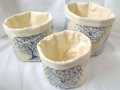 3 storage buckets storage bins blue fabric by FingerPrickingGood