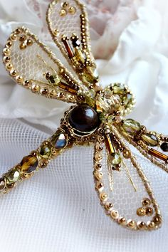 Filigree, handcrafted insect jewelry art - hand embroidered Dragonfly brooch will be a unique gift for special woman. Beautiful as anniversary