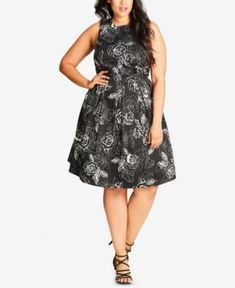 fc9ee4c8a5b CITY CHIC TRENDY PLUS SIZE FLORAL-PRINT FIT   FLARE DRESS.  citychic  cloth
