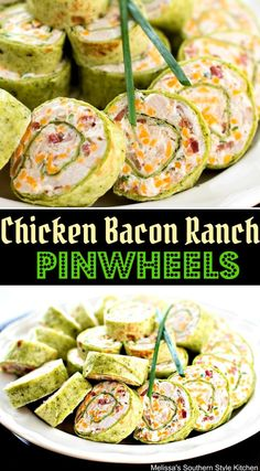 Whether you're entertaining, making quick snacks for the kids, or tailgating, these Chicken Bacon Ranch Pinwheels are a must have on the menu. Easy Appetizer Recipes, Yummy Appetizers, Toothpick Appetizers, Pinwheel Appetizers, Entree Recipes, Dinner Recipes, Tapas, Pinwheel Sandwiches, Pinwheel Recipes