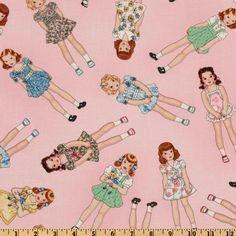 Timeless Treasures - Dolly Dear - Vintage Paper Dolls - Pink by Karen Snyder. $8.25, via Etsy.