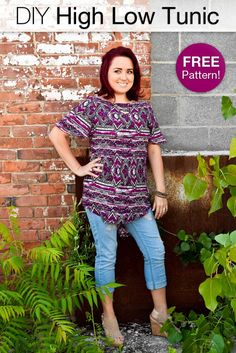 Tunics are a great and easy item of clothing to own because they can be dressy or casual, depending on the fabric. Tunics are comfy and stylish. Diy Clothes Patterns, Tunic Sewing Patterns, Dress Making Patterns, Tunic Pattern, Top Pattern, Sewing Clothes, Shirt Patterns, Free Pattern, Tunic Tutorial