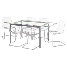 Dining Table and 6 Chairs - 6 Seater Dining Table & Chairs - IKEA Ireland Table Legs, Table And Chairs, A Table, 6 Seater Dining Table, Glass Dining Table, Dining Tables, Table Height, Chairs, Dining Room Sets