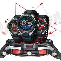 Sale 11% (16.99$) - TVG 801 Fashion Men Digital Watch Dual Display Rubber Strap Sport Watch
