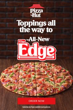The Edge pizza is back with an all-new flavor. Try one of four new recipes. Each one comes with a sweet tomato sauce, a crispy, thin crust and pizza toppings all the way to the edge. Then we finish it off with a special garlic and herb seasoning. It comes party cut with 16 slices, the perfect pizza for graduation party food or a summer party. Pasta Salad Recipes, Pizza Recipes, Low Carb Recipes, New Recipes, Graduation Party Foods, Perfect Pizza, Thin Crust Pizza, Vegan Pizza, Pizza Hut