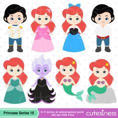 Little Mermaid Clipart Mermaid Clipart Princess por Cutesiness