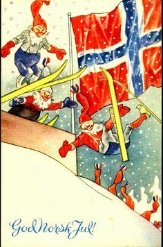 Julekort Nisser i hoppbakken med stort norsk flagg i bakgrunnen. Utg Åsmund S. Lærdals forlag, Stavanger