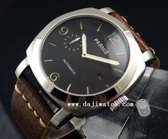 44mm parnis date screw down crown pam-style Sandwich Dial auto mens watch