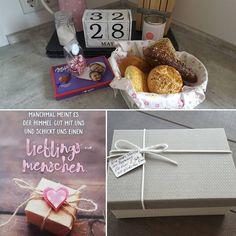 Heute sind wir ein Monat verheiratet & unsere liebe Familie und unsere Freunde sowie Nachbarn haben sich wirklich tolle Sachen einfallen lassen für das erste Ehejahr ❤ . So haben wir auf unserer Hochzeit die Box da �� bekommen, wo für jeden 28. des jeweiligen  Monats eine Karte mit persönlichen Worten & Wünschen drin ist. Und unsere süßen Nachbarskinder haben in der Pralinenbox kleine Zettel reingelegt, wo drauf steht was sie uns jeden Monat zum 28. Gutes tun. Heute waren es Brötchen ��…