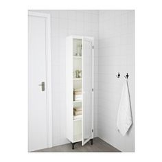 IKEA - SILVERÅN, High cabinet with mirror door, white, , You can mount the door to open from the right or left.Perfect where space is limited since the cabinet is shallow.The mirror comes with safety film on the back, which reduces the risk of injury if the glass is broken.