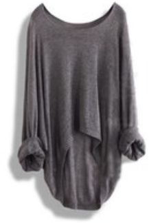 Long grey sweater. (Perfect with thigh high socks)