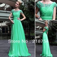 Free Shipping Bateau A-line Floor Length Emerald Green Chifon Lace Cheap Prom Long Dresses Evening Gowns 2013 $129.00