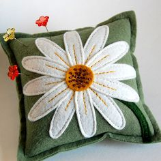White Daisy Pin Pillow by TheBlueDaisy, via Flickr