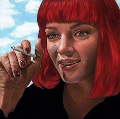 Mrs. Mia Wallace fictional character in the 1994 Quentin Tarantino film Pulp Fiction. Painting by Johannah O'Donnell @johannah_odonnell  Миссис Миа Уоллес вымышленный персонаж фильма Квентина Тарантино Криминальное чтиво. Картина Джоанны О'Доннелл.  #иллюстрация #искусство #графика #холст #арт #выставки #art #illustration #pencil #drawing #draw #digitalart #mixedart #contemporaryart #sketchbook #graphic #exhibitions #timetoart