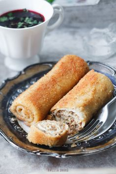 Polish Croquettes (Krokiety) stuffed with meat or mushrooms and cabbage