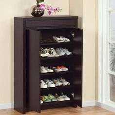 Hokku Designs Hess Studio Five Shelf Shoe Cabinet In Red Cocoa